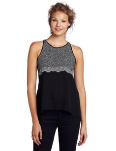 Bcbgmaxazria Women's Caralyn Halter Tank Top With Open Back, Black Combo, Large