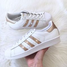 Adidas Originals Superstar white/rose Gold With Swarovski Xirius... ($175) ❤ liked on Polyvore featuring shoes, athletic shoes, silver, sneakers & athletic shoes, women's shoes, polish shoes, rose gold shoes, shiny shoes and white shoes