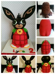 Bing Bunny Step by Step! I did forget to take pictures at some stages Fondant Cake Tutorial, Cake Topper Tutorial, 1st Birthday Parties, 2nd Birthday, Bing Cake, Sugar Animal, Bunny Birthday Cake, Bing Bunny, Rabbit Cake