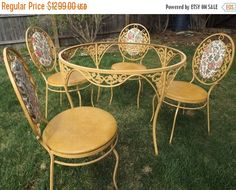 Vintage Wrought Iron Warm Gold Yellow Patio Set Decorative Table Four Chairs