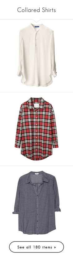 """Collared Shirts"" by vinylizing ❤ liked on Polyvore featuring tops, tunics, shirts, long tops, long length shirts, silk tunic, silk top, white shirt, blouses and flannels"