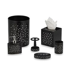 Black White Damask Bath Accessory 4 Piece Set Overstock