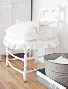 white lavender slipcover repurosed lavender French chair