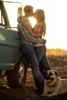 Country Couple  # Kisses # Dog # Country Girl # Country Boy # Photography Ideas