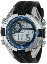 Armitron Sport Men's 40/8300BLU Blue and Silver-Tone Accented Black Resin Strap Chronograph Digital Watch