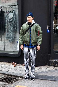 HAT| #CHAMPION JACKET|#ALPHAINDUSTRIES WATCH|#NEIGHBORHOOD PANTS|#LIFUL SHOES| #VANS BAG| #PORTER Lee Jaeho, Street Fashion 2017 in SEOUL