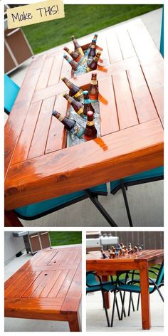 Wine Cooler - If you are building an outdoor table, why not custom make ice bucket trays? How cool is this???