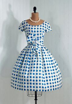 1950's Crisp-White and Blue Polka-Dot Silk Party Dress  From TimelessVixenVintage (I'd wear the hell out of this!)