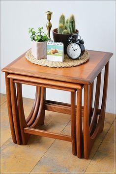 mid century vintage teak G Plan nest of 3 tables coffee table danish design