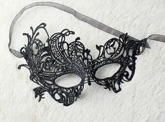 Lace MaskMasquerade Mask Queen Maskcrochet lace maskBlack