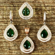 Hurrem Sultan Harim Soltan Set Tear Drop Emerald Color Ottoman Jewelry 925SS