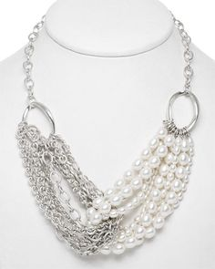 Slane Silver Pearl Necklace.  Very interesting construction.