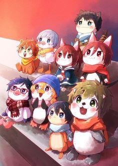 Watching the Sunrise together ...  From mako_rakko ... Free! - Iwatobi Swim Club, free!, iwatobi, makoto tachibana, makoto, tachibana, sea otter, haruka nanase, haru nanase, haru, haruka, nanase, river otter, nagisa hazuki, nagisa, hazuki, pinguin, rin matsuoka, matsuoka, rin, cat, rei ryugazaki, rei, ryugazaki, seagull, sousuke, yamazaki, sousuke yamazaki, gou matsuoka, gou, nitori, aiichiro nitori, aiichiro, duck, mikoshiba, momotaro, momotarou, momotarou mikoshiba, momotaro mikoshiba…