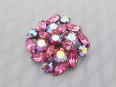 Regency Pink Aurora Borealis & Rhinestone by Libbysmomsvintage, $45.00