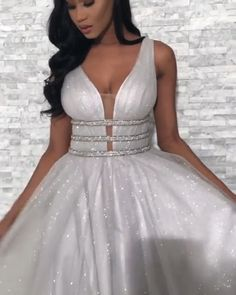 Gorgeous gray ball gowns deep v-neck evening dresses with pearls Gray prom dresses Straps Prom Dresses, V Neck Prom Dresses, Grad Dresses, Prom Party Dresses, Evening Dresses, Bridesmaid Dresses, Formal Dresses, Elegant Dresses, Sexy Dresses