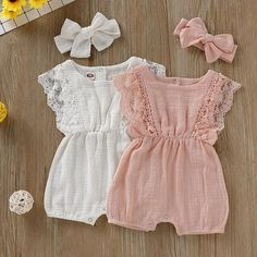 Baby Summer Romper Lace Design With Headband One-Piece – DailyBestBuys