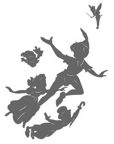 black and white disney silowets | peter pan tinker bell