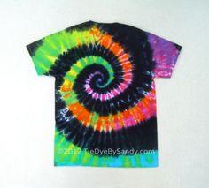 Tie Dye Shirt Medium Rainbow Spiral Black Rainbow by TieDyeBySandy, $18.99