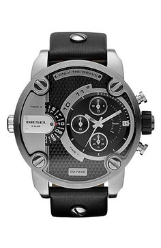 DIESEL® 'Little Daddy' Chronograph Leather Strap Watch, 51mm available at #Nordstrom PIN for NAE