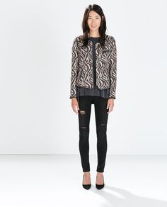 Image 2 of PATTERNED FABRIC CREW NECK JACKET from Zara