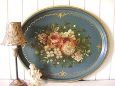 Vintage Handpainted Floral Tray, Beautiful French Country Blue, Metal, Ex Lrg Oval, Not So Shabby Chic,  Country Cottage, 10th Anniversary. $58.60, via Etsy.
