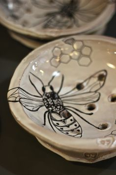 Hand Drawn Decals on Ceramics, Before Final Firings,  Julie Guyot, TCA Artist in Residence | Oysters & Pearls