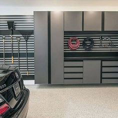 100 Garage Storage Ideas for Men - Cool Organization And Shelving : Modern Slat Board Garage Storage Design Go from cluttered to organized with the top 100 best garage storage ideas for men. Explore cool shelving designs, custom tool cabinets, and more. Garage Storage Cabinets, Diy Garage Storage, Storage Ideas, Tool Cabinets, Plan Garage, Design Garage, Garage Solutions, Garage Floor Paint, Architecture Design