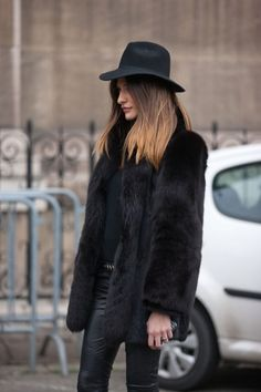Leather leggings, fur coat, felt hat