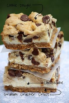 Cheesecake Cookie Dough bars with a graham cracker crust!