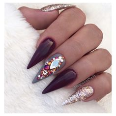 Burgundy And Rose Gold Stilettos  by MargaritasNailz from Nail Art Gallery
