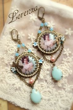 Shabby chic aqua earrings von lorenza33 auf Etsy
