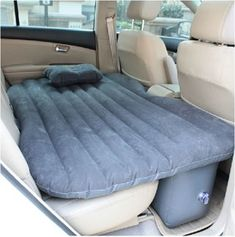 This nice inflatable air bed mattress fits in the back seat of your car or SUV and provides comfortable travel for children, pets and overnight sleeping by adults. This air bed fully inflates quickly and when not needed can be quickly deflated, folded and packed.  Suitable for most cars and SUV backseats.