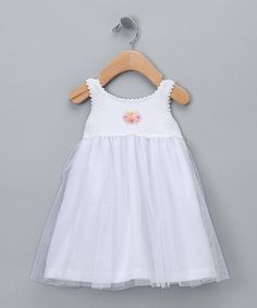Take a look at this White Crocheted Garden Dress - Infant by Victoria Kids on #zulily today!