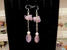 Amethyst Sterling Silver Earrings, February Birthstone Dangle Tassel