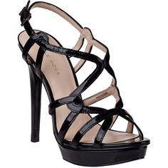 PELLE MODA Flirty Platform Sandal Black Patent ($150) ❤ liked on Polyvore