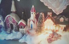 Putz Houses, A Vintage Christmas, Bottle Brush Trees....photo by Julie Cruzan
