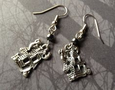 Ghost Hunter Haunted House Earrings with Hematite by AngelQ