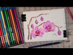 video tutorial for a quick orchid watercolor