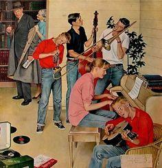 Jam Session by John Philip Falter Retro Art, Retro Vintage, Vintage Stuff, Canvas Art Prints, Painting Prints, Paintings, Piano Y Violin, Romare Bearden, Fabian Perez