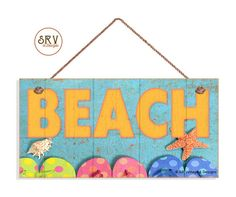 89105f4a5417 Beach Sign With Flip Flops and Weathered Wood