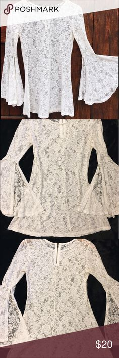 Forever 21- Bell Sleeve Lace Dress Size- Small~White Floral Lace~Bell Flared Sleeves~Optional To Wear As Blouse Forever 21 Dresses Mini