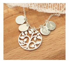 Family Tree Necklace, Personalized Mother's Necklace, Initial Necklace, Grandmom's Necklace, Tree of Life, Gift for Mom, Sterling Silver