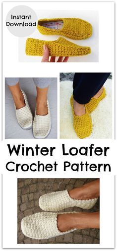 Chunky, warm and cozy loafers, worked toe/up, in one piece. Slightly over-sized to room socks and/or insoles. Joining customized soles to the slipper bottoms, w Crochet Slipper Boots, Crochet Slippers, Crochet Yarn, Crochet Designs, Crochet Patterns, Crochet Fashion, Crochet Accessories, Beautiful Crochet, Crochet Clothes