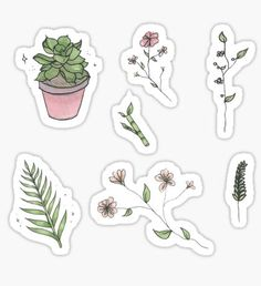 """""""Plants and Flowers Sticker Sheet"""" Stickers by prismapansy Stickers Kawaii, Phone Stickers, Anime Stickers, Journal Stickers, Cool Stickers, Scrapbook Stickers, Planner Stickers, Arte 8 Bits, Homemade Stickers"""