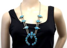 Vintage FLORENZA Signed COUTURE Glass Turquoise Silver Plated Pendant Necklace