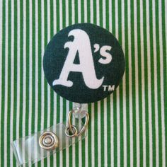 MLB Oakland A's Baseball Badge Reel by SailorBettyShop on Etsy, $6.00