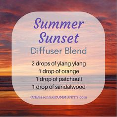 Sharing a great diffuser blend to help you wind down and relax as we end a wonderful weekend.  Its sweet and warm aroma is a wonderful mix of floral, citrus, and woodsy notes that makes me like I'm on the beach enjoying a great summer sunset.    Best of all the essential oils provide the therapeutic benefits we love:  Ylang ylang is uplifting, boosting my mood.  Sweet or wild orange is an adaptogen that can be both relaxing and energizing, depending on what my body needs. Patchouli has a…
