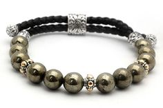Silver and gold Bracelet with pyrite beads cutting round 8mm and black braided leather 3mm,Bali motif clasp