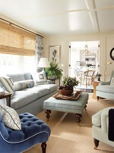 I recommend woven shade with white panels on your bay window.  That will help give it the more organic feel you love.