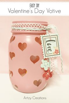 This Valentines Day Votive radiates warmth and love. So easy to make from a mason jar. This Valentines Day Votive radiates warmth and love. So easy to make from a mason jar. Mason Jar Projects, Mason Jar Crafts, Mason Jar Diy, Bottle Crafts, Vintage Mason Jars, Valentine Day Love, Valentine Day Crafts, Holiday Crafts, Valentines Sweets